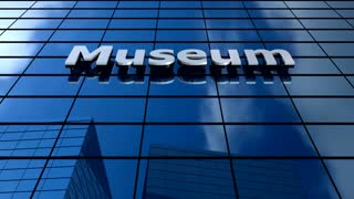 Museum building blue sky timelapse.