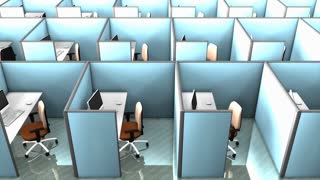 Office cubicles, interior, building, partition, space, work.