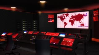 Operation  control room, Command center, red lights.