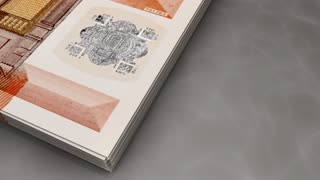 Paper money flips animation Euro