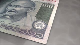 Paper money flips animation Rupee