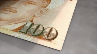 Paper money flips animation Singapore dollar