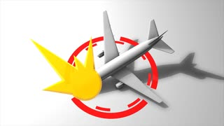 Plane crash graphic animation. matte included