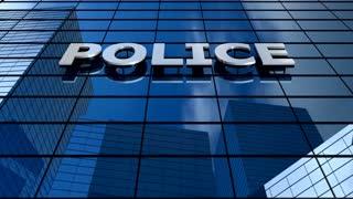 Police building blue sky timelapse.