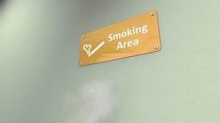 Public smoking area, isolate, ventilate, smokes.