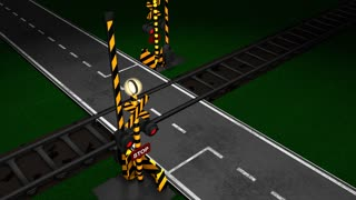 Railroad crossing animation, gate, light, train, car, traffic, concept.