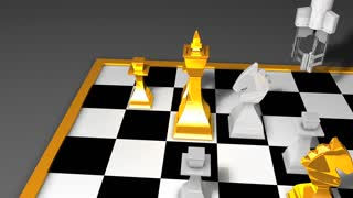 Robot chess player animation, AI, artificial intelligent.