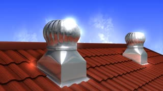 Rooftop wind-driven ventilation turbine, air, flow, technology.
