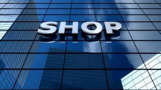 Shop building blue sky timelapse.