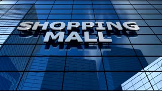 Shopping mall building blue sky timelapse.