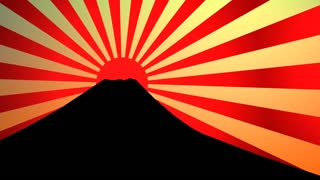 Silhouette fuji mountain with sunburst effect.