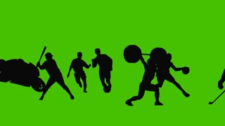 Silhouette sports, background, activity, olympic, flat, 3d space.