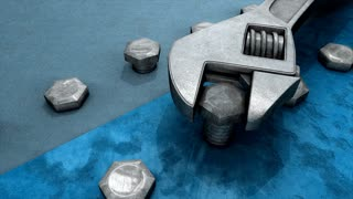Spanner and nut 3d animation, tool, work.