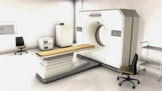 Specialist hospital CT scan device room.