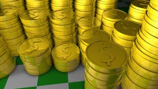 Stacks of gold coins, classic, money, old, value, chip, casino.