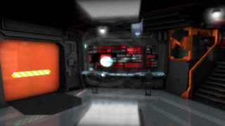 Starship command room, science fiction spaceship control room.