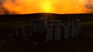 Stonehenge ruin view on sunset.
