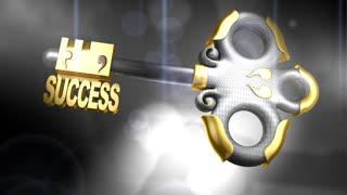 Success key, text, floating, background.