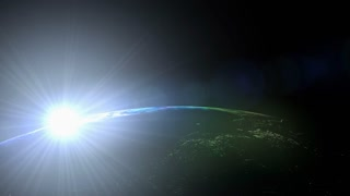 Sunrise view from space, low orbit, sun.