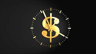 Time and money concept animation, clock, ticking, running.
