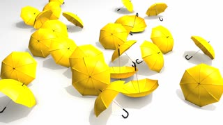 Umbrellas blown away, protection, safety, risk.
