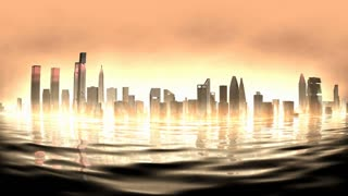 Artist rendering, burning city view background.