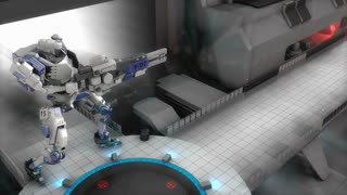 Battle robot shooting laser gun