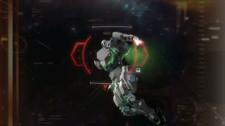 Crosshair target locked on a space battle robot.