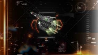 Crosshair target locked on a spaceship.