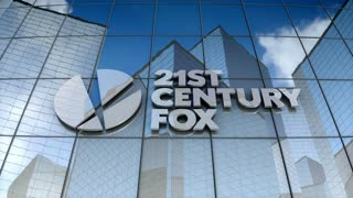 Editorial, 21st Century Fox logo on glass building.