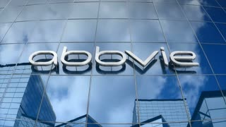 Editorial, AbbVie logo on glass building.