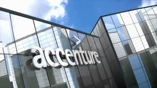 Editorial, Accenture PLC logo on glass building.