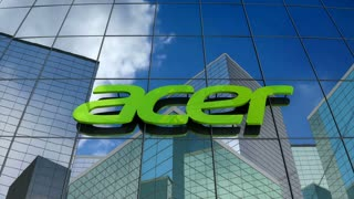 Editorial, Acer Inc. logo on glass building.