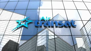 Editorial, Air Transat logo on glass building.
