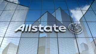 Editorial, Allstate Corporation logo on glass building.