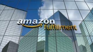 Editorial, Amazon Fulfillment logo on glass building.