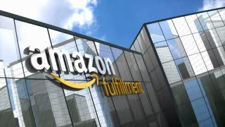 Editorial, Amazon Fulfillment logo on glass building.
