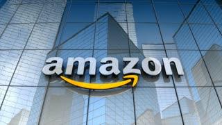 Editorial, Amazon logo on glass building.