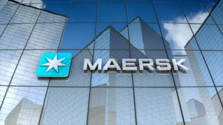 Editorial, A.P. Moller�Maersk Group logo on glass building.