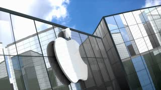 Editorial, Apple Inc. logo on glass building.