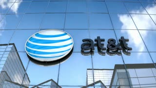 Editorial AT&T logo on glass building.