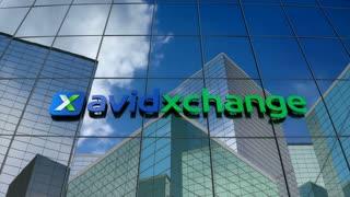 Editorial, Avidxchange logo on glass building.
