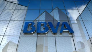 Editorial, Banco Bilbao Vizcaya Argentaria, S.A. logo on glass building.