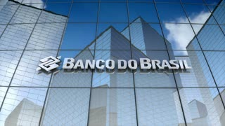 Editorial, Banco do Brasil S.A.  logo on glass building.