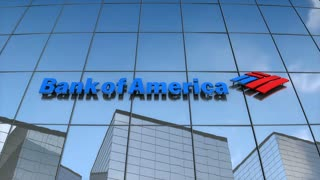 Editorial Bank of America logo on glass building.