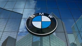 Editorial, Bayerische Motoren Werke AG logo on glass building.