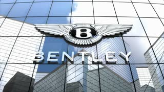 Editorial, Bentley Motors Limited logo on glass building.
