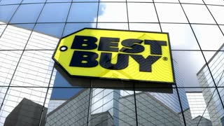 Editorial, Best Buy Co., Inc. logo on glass building.