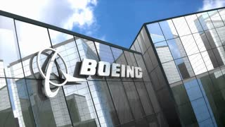 Editorial, Boeing logo on glass building.