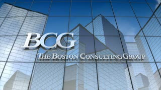 Editorial, Boston Consulting Group logo on glass building.